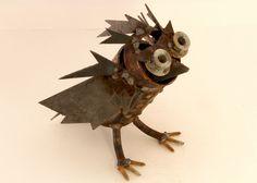 Owl Scrap Metal Art by Crysten Nesseth of Red Cedar Artists.  www.redcedarartists.com https://www.etsy.com/shop/RedCedarArtists?ref=hdr_shop_menu