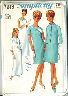 8f1f7b8653 Items similar to Vintage 60s Simplicity 7319 Misses UNCUT Mother of the  Bride or Evening Dress with Jacket or 2pc Dress Sewing Pattern - Size 20  Bust 40 on ...