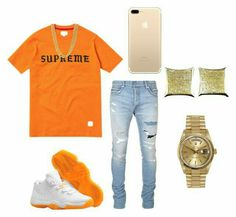 A fashion look from November 2017 featuring orange tee, pave stud earrings and mens slim cut jeans. Browse and shop related looks. Dope Outfits For Guys, Swag Outfits Men, Tomboy Outfits, Casual Outfits, Teen Boy Fashion, Tomboy Fashion, Mens Fashion, Dope Fashion, Hype Clothing