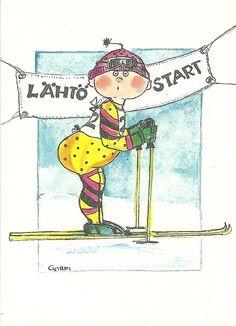 Vapaa vai perinteinen (Free or traditional) Ski Racing, Doll Eyes, Whimsical Art, Finland, Skiing, Woodland, Glass Art, Snoopy, Comics