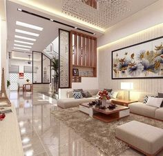 Living Room Partition Design, Room Partition Designs, Living Room Sofa Design, Living Room Interior, Home Living Room, Living Room Designs, Living Room Decor, Small House Interior Design, Home Stairs Design