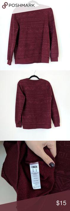 "Asos sweatshirt Asos unisex sweatshirt  - burgundy color - size M (pit to pit 20"") - aztec print - 100% cotton - excellent condition ASOS Tops Sweatshirts & Hoodies"