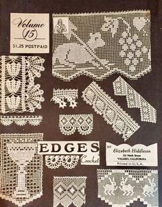 Elizabeth Hiddleson Crochet Patterns Vol. 15 Edges Crocheted Edgings, Thread Crochet