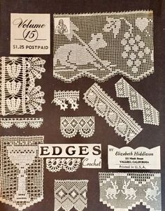 Elizabeth Hiddleson Crochet Patterns Vol. 15 Edges Crocheted Edgings, Thread Crochet