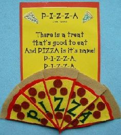 Pizza Storytime outline P-I-Z-Z-A Don't you love this precious flannel that… Flannel Board Stories, Felt Board Stories, Felt Stories, Flannel Boards, Preschool Food, Preschool Songs, Preschool Themes, Preschool Projects, Restaurant Themes