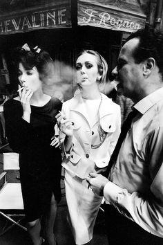 Shirley MacLaine, Ina Balke and Jack Lemmon on the set of 'Irma la Douce', photographed by Jeanloup Sieff, 1962.