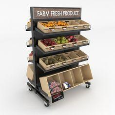 Wheeled Gondola Shelving Kit | Wood Produce Display | DGS Retail Wooden Crate Shelves, Wooden Crates, Fruit And Veg Shop, Vegetable Shop, Vegetable Stand, Gondola Shelving, Produce Displays, Retail Signs, Supermarket Design