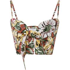 De Fiori Floral Top | Moda Operandi (1 370 SEK) ❤ liked on Polyvore featuring tops, floral crop top, deep v neck top, white top, cut-out crop tops and low v neck tops