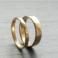 Hammered Wedding Band Set 9ct Yellow Gold Wedding Ring by OddPower, £315.00