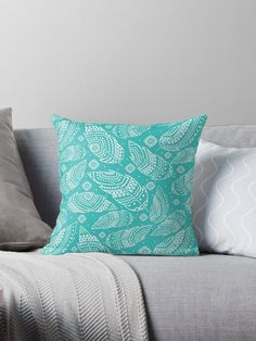Turquoise boho feather  Throw Pillows