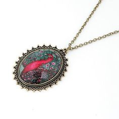 SALE Glass Dome Peacock Necklace Vintage Inspired Fashion Jewelry Expiring Soon... Less than $3 right now