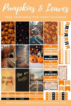 Free Printable Pumpkins & Leaves Planner Stickers from Organized Potato To Do Planner, Free Planner, Erin Condren Life Planner, Planner Pages, Weekly Planner, Happy Planner, Planner Ideas, 2015 Planner, School Planner