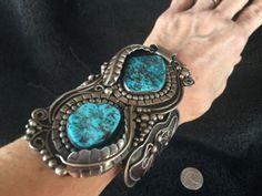 180-grams-Huge-Elaborate-Sterling-Silver-Sponge-Turquoise-Navajo-Cuff-Bracelet