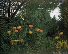 Henri J.F. Rousseau - Exotische Landschaft mit Tiger und Jägern