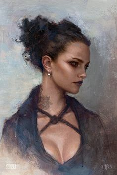 Portrait Study by Tom Bagshaw. Non so ancora chi sarà. Female Character Inspiration, Fantasy Inspiration, Foto Fantasy, Fantasy Art, Photo Portrait, Portrait Art, Character Portraits, Character Art, Fantasy Characters