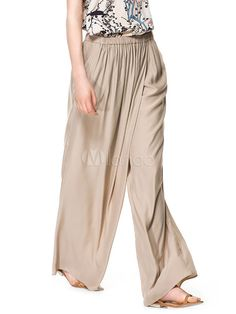 Deep Brown Elastic Waist Wide Silk-like Glamour Women's Pants - Milanoo.com