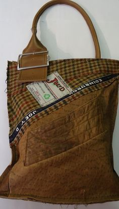 Leather Buckle Bag - a completely original handbag hand made from recycled clothing.