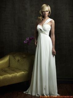 Romantische weiße Brautmode aus Chiffon Kolumne mit Schleppe
