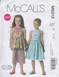 4011df9777c3 Summer Dress Pattern Capris Crossover Top Girls Size 6 - 8 uncut McCalls  6312 Easy