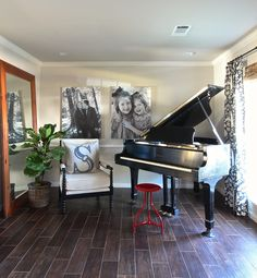 hollymathisinteriorsstinsonpianoroomredstool Would love a baby grand!  Maybe then I would try to play again.