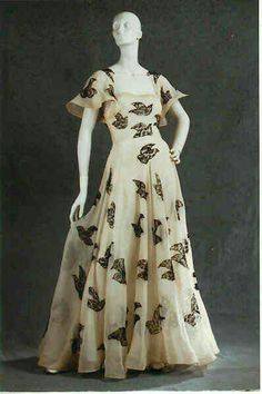 Madeleine Vionnet evening dress, ivory silk organza with black lace insets, 1937, France. Collection of Beverley Birks.