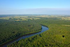 This photo shows the view from above the Nemunas River and countryside outside of Alytus.