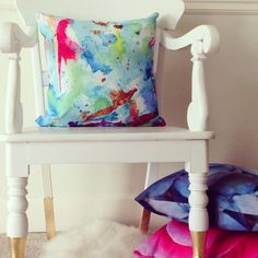 Pull up a chair! Pillows Limezinnias Design@ etsy