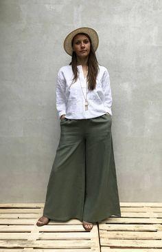 ff56b1527c2 Enjoy linen pants in this wide leg pant variation. Wonderful flow and  drape. Enjoy