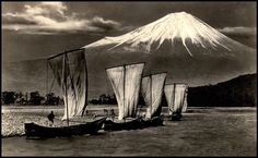 "SAILING INTO FUJI by Okinawa Soba, via Flickr.  THIS IMAGE is one of several examples of a largely ignored facet of Old Japanese Photography -- a genre called ""TAISHO ART"" or ""TAISHO PICTORIAL PHOTOGRAPHY"". The pictorialism movement in Japan reached its peak during the reign of EMPEROR TAISHO (1912-26),Ca.1920, Real-photo gelatin silver print. Postcard format."