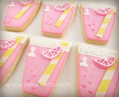 Pink lemonade cookies for a pink lemonade stand birthday party. Love these lemonade glass cookies. #pink #yellow #girl