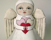 Heart Angel-- Contemporary Folk Art Doll-- Made to order within a week