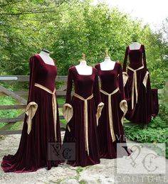 BRIDESMAIDS, but in green... Medieval Gown Lotr Dress Celtic Pagan by VendettaCouture on Etsy