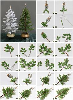 Beaded Christmas Decorations, Beaded Christmas Ornaments, Christmas Diy, Beaded Flowers Patterns, French Beaded Flowers, Tree Crafts, Christmas Crafts, Copper Wire Crafts, Wire Tree Sculpture