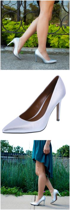 07283f4c296 Add a little shine to your office look with the silver Habit pump from  designer Christian