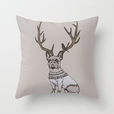 Deer Frenchie Throw Pillow by Huebucket ☻ ☺. ✿