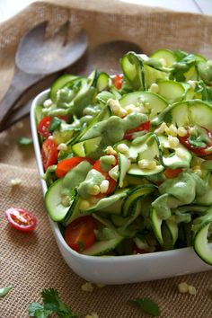 Sweet Corn, Cherry Tomato, and Zucchini Salad with Avocado Ranch Dressing ~ summer corn, juicy cherry tomatoes and spiralized zucchini noodles are topped with a 3-ingredient dressing of creamy avocado, ranch seasoning & almond milk