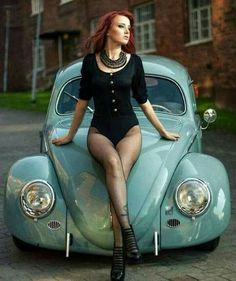 Sexy vw beetle...shes ok too ;) ...XBrosApparal Vintage Motor T-shirts, VW Beetle & Bug T-shirts, Great price