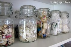 Southern Scraps : Organize it: The craft room10 ways. #6 Use old mason jars to store buttons, spools and other small items.