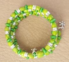 Green Wooden Beads Memory Wire Stainless Steel Bracelet by KalaaStudio on Etsy