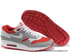 buy online 31760 bd8c8 Sport Red Medium Grey White Nike Air Max 1 433212-006 Mens Online Nike Air