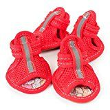 Dog Summer Shoes Breathable Mesh Puppy Shoes Dog Sandals (XXL, Red)   Quantity: 1Pcs Material:Net yarn Soft and very easy to put on 100% brand new and high quality Eye-catching sneakers design, matching your cute pet  Size: S —–Shoe length: 4.5cm/1.77″ —–Shoe width:...