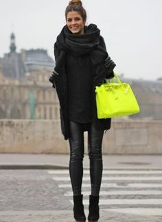 Amazing how a pop of color can transform an outfit! #neon #birkin #streetstyle