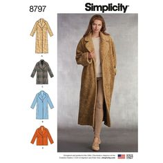 Misses Loose Fitting Lined Coat Simplicity Sewing Pattern 8797 from Sew Essential. With its classic lapels and easy fit, this lined Misses' coat has the look of a comfortable oversized coat. The coat includes four lengths and a one-button closure. Sew You Oversize Mantel, Oversized Coat, Coat Pattern Sewing, Coat Patterns, Dress Patterns, Pattern Drafting, Sewing Coat, Fashion Patterns, Clothes Patterns