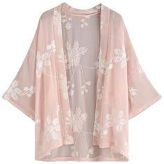 Kimono Tunic (120 RON) ❤ liked on Polyvore featuring tops, tunics, kimono, cardigans, jackets, pink top, chiffon tops, short sleeve long tops, kimono tunic and long tops