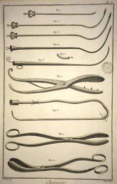 Surgical tools — Original antique medical, 1751
