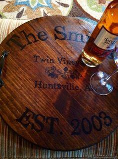 Personalized Wine Barrel Tray Custom gift by KristiesreCREATIONS