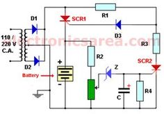This auto turn-off battery charger automatically disconnects from mains to stop charging when the battery is fully charged. Useful for car battery Hobby Electronics, Electronics Components, Electronics Projects, Electronic Circuit Projects, Electronic Engineering, Electrical Engineering, Lead Acid Battery Charger, Battery Charger Circuit, Arduino
