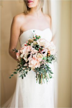 pastel and foliage bridal bouquet | Image by Neupap Photography