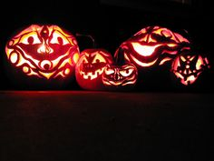Creatively Carved  Wood-block carvings and prints inspired the intricate, artistic design of these jack-o'-lanterns. Submitted by HGTV fan dloldham.