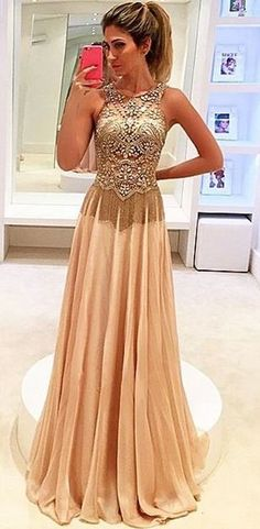 Beaded champagne chiffon prom dress with beautiful top details, long formal dress for prom 2016 #coniefox